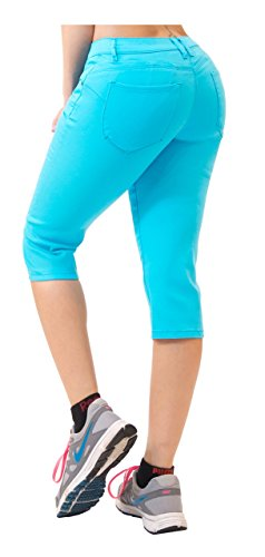 en Butt Lift super bequemen Stretch-Denim Capri Jeans 3 Aqua ()
