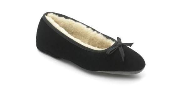 3b318bcb5509 Ladies Ballerina Sheepskin Slipper - Black (7 UK)  Amazon.co.uk  Shoes    Bags