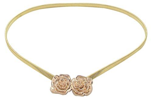 EOZY Mujer Cinturón de Elástica Accesorios de Vestido Forma Flor Dorado