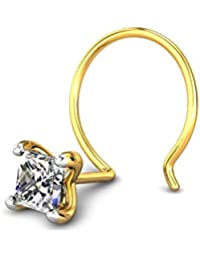 Candere By Kalyan Jewellers 18k (750) Yellow Gold and Diamond Luminarc Nose Pin