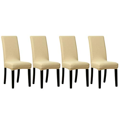 Parsons Stuhl Stoff Stuhl (sourcing map 4STK. Stuhlhusse Spitze Kunstleder PU Stoff Leder Esszimmerstuhl Champagne Farbe)