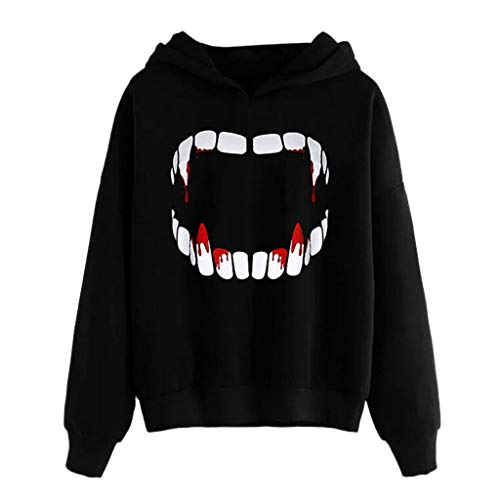 Gothic Kostüm Scary - Supertong Damen Hoodie Herbst Winter Fleece Warm Langarm Sweatshirt Kapuzenpullover Bluse Frauen Einfarbig Drucken Mit Kapuze Halloween Kostüme Gothic Scary Horror Vampir Halloween Pullover