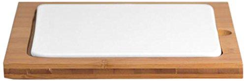 CHIO Bambou Assiette Carrée avec Support en Bambou, Blanc/Bois, 20 cm