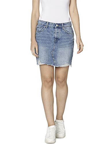 ONLY NOS Damen Rock onlSKY REG DNM SKIRT BB PIM992 NOOS Blau (Light Blue Denim), (Herstellergröße: 36) - 5-pocket Rock