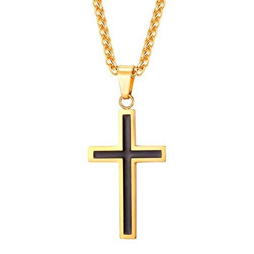 U7 18k vergoldet Schwarz Emaille Lateinisches Kreuz Anhänger Halskette Gold Ton Edelstahl Christentum Religiöse Schmuck