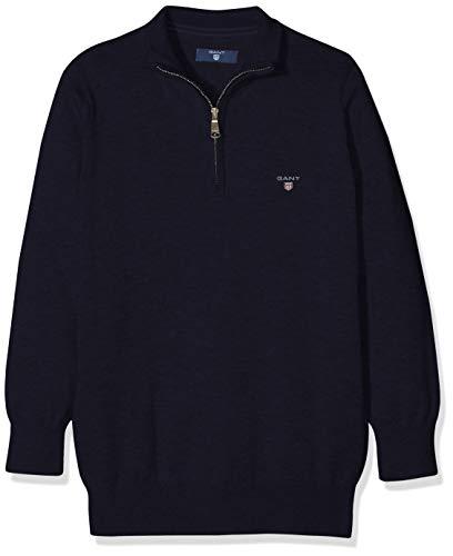 GANT Jungen Tb. Lt Wt Cotton Half Zip Pullover, Blau (Evening Blue), 11-12 Jahre (Herstellergröße: 146/152) Half Zip Lightweight Pullover