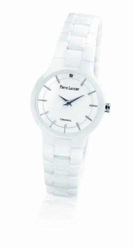 Pierre Lannier - 009J900 - Montre Femme - Quartz Analogique - Cadran Blanc/Rose - Bracelet Cramique Blanc