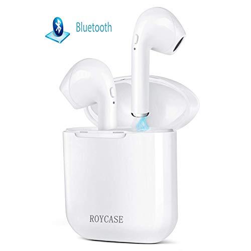 roycase Wireless Bluetooth Headset V4.2 In-Ear-Kopfhörer kabellose Headsets Stereo-Mini-Kopfhörer wasserdicht Geräuschunterdrückung mit Ladekoffer und eingebautem Mikrofon