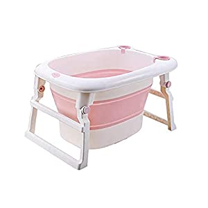 A literary youth Kids Portable Folding Bathtub,Baby Folding Bathtub Portable Children s Bath Barrel Thick Warm Large Plastic Double Drainage Home Can Sit Baby Swim Tub @Pink