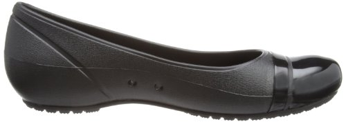crocs Damen Cap Toe Flat Durchgängies Plateau Ballerinas Schwarz (Black/Black)