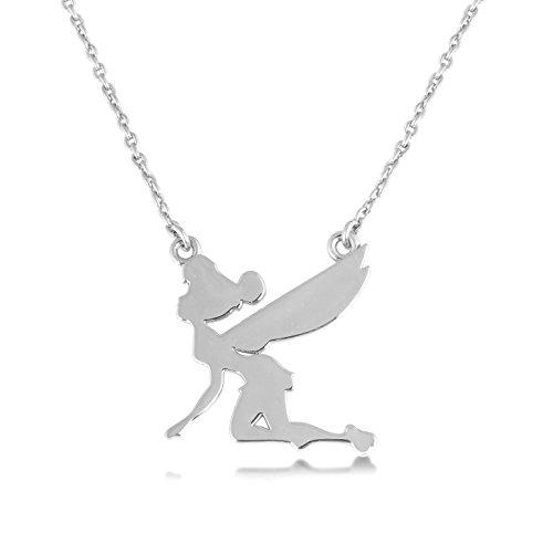 Disney Couture Oro Blanco Flying Silueta de Campanilla Collar