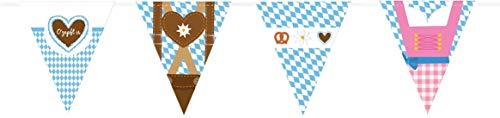 Miss Lovely Party-Girlande/Banner Ozapft is mit Dirndl & Lederhose Rauten blau & weiß Raum-Dekoration/Motto-Party Bayern/Oktoberfest/Geburtstags-Deko JGA Accessoires
