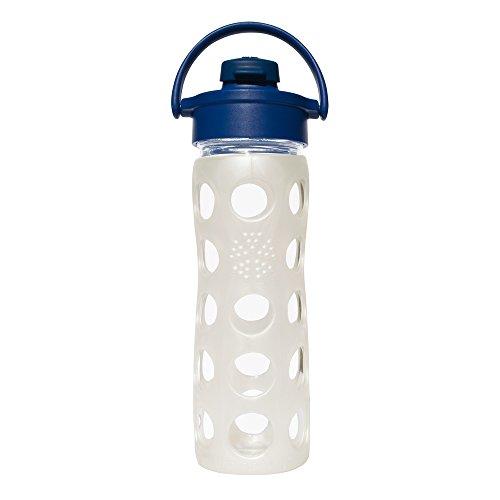 Lifefactory 14915 Glas -Trinkflasche 475ml, Flip Top Cap, midnight blue