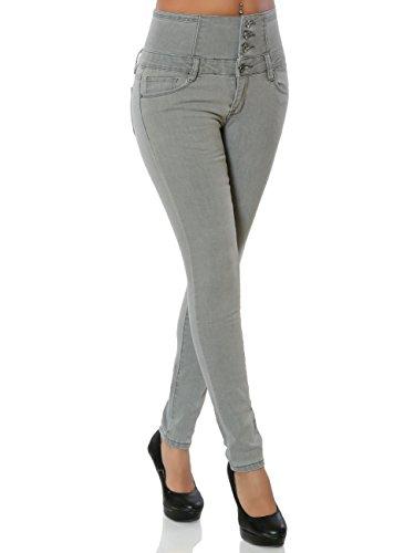 Daleus Damen High-Waist Jeans Skinny Hose Stretch DA 15863, Farbe Grau,  Größe S   36 9833337cac