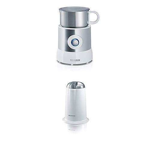 Severin SM 9684 Milchaufschäumer (500 Watt, Induktion, 500 ml, kaltes und warmes Aufschäumen) edelstahl/weiß + Kaffeemühle, Edelstahl-Schlagmesser, weiß/ grau, Altes Modell