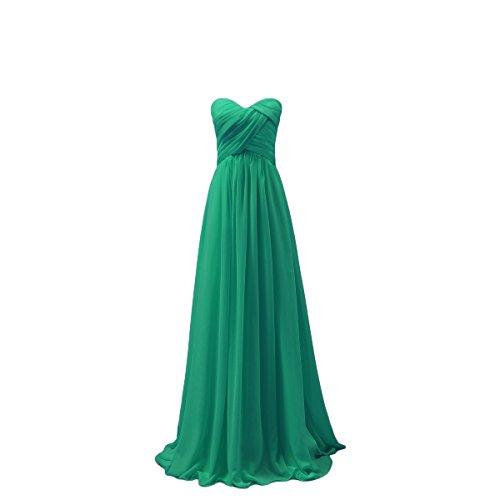 Bridal_Mall Damen Herzform ohne Aermel Brautjungfernkleider Lang Chiffon Falten Abendkleider Partykleider Grün