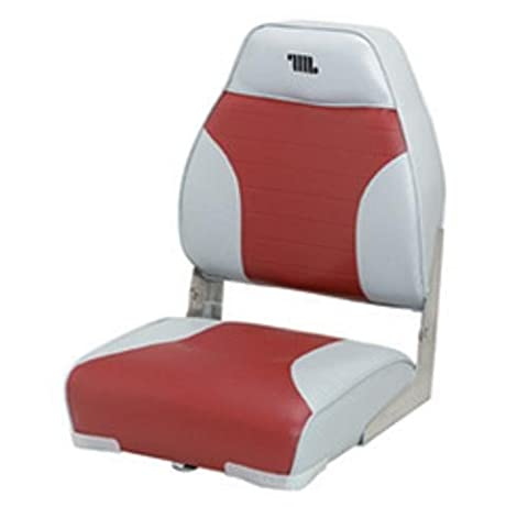 Standard High Back Boat Seat with Logo, Grey/Red by Wise