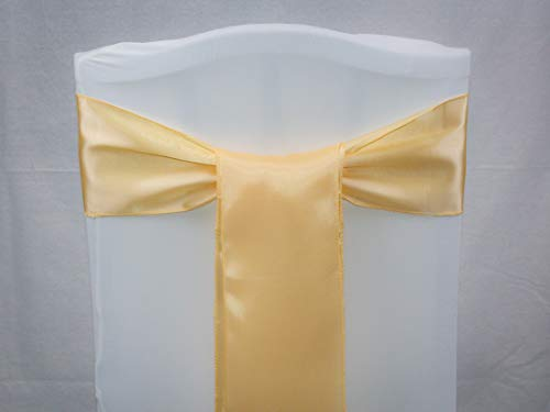 Events n Fabrics Enf 100 Stück Satin Stuhl Band Schleife Hochzeit Bankett-Party Dekoration Sb00-40 Farben SB03 - Beige