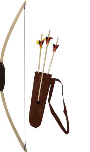 Bogen Kostüm - Bogenset aus Sportbogen Eschenholz,ca.114 cm, ab 14 Jahren, mit Köcher und drei Pfeilen
