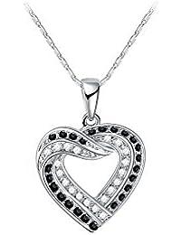 Hanessa Damen-Schmuck Silberne Hals-Kette Herz-Anhänger Weiß-Gold Vergoldet  in Silber mit Strass-Steinen in weiß und schwarz Geschenk… bef1f186df