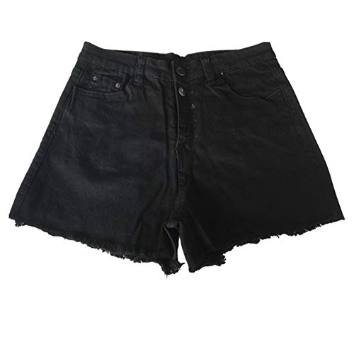 DAIDAICDK Frauen Loch Zerstörte Zerrissene Jeans Mit Hoher Taille Hot Solid Button Jeans Mit Hoher Taille Shorts - Zerstört Low-rise-jeans