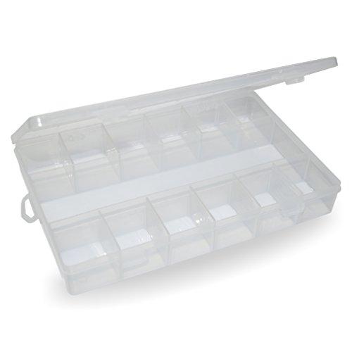 Boîte de rangement avec compartiments variables (vide) Transparent-laiteux – styrène PP plastique avec fermeture rapide –-LxLxH : env. 275 x 180 x 40 mm