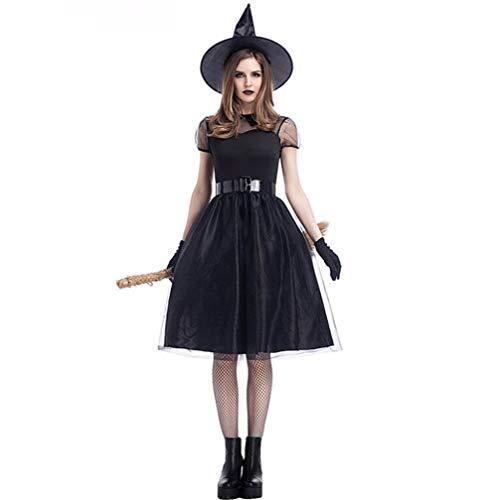 QIONGQIONG Halloween Mesh Hexe Kostüm Kleid Temperament Lady Night Ghost Spiel Cosplay Partei Schwarz,M