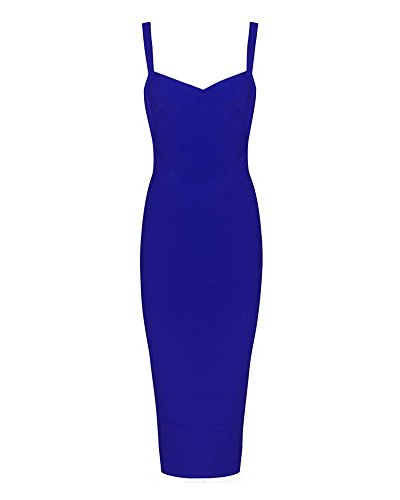 Whoinshop Women's Rayon Strap Mid-calf Length Evening Party Bandage Prom Dress Blue S (Womens Blue Prom Dresses)
