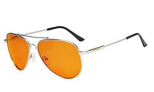 Eyekepper Blau Blockierung Brille für Schlaf-Nacht Brillen-Special Orange getönten Speicher Rahmen Bifokal Lesebrille für Männer (Silber, 3.00)