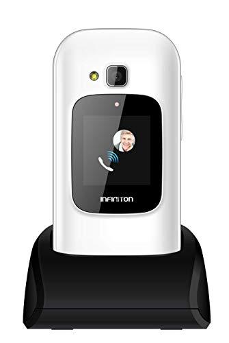 TELEFONO MOVIL INFINITON U1 con Tapa y Teclas Grandes para Mayores con Boton SOS (Blanco)