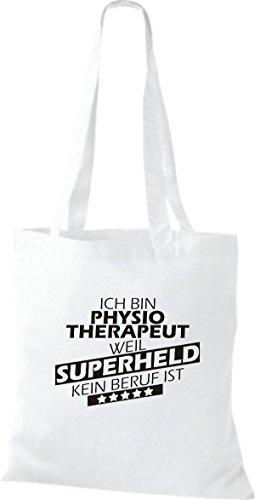 Shirtstown Stoffbeutel Ich bin Physiotherapeut, weil Superheld kein Beruf ist weiss