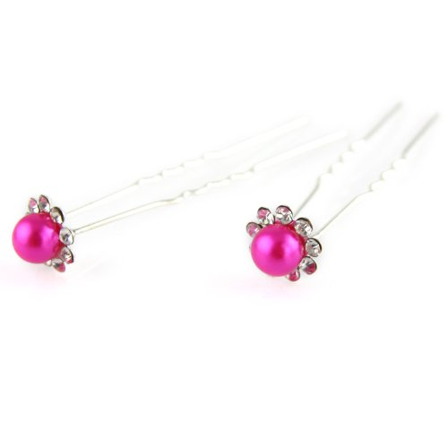 Bright Pink - Painted Faux Pearl - Crystal Cut Jeweled Petals - Double Prong - Hair Pin - 2 Piece Set (Jeweled Haarspangen)