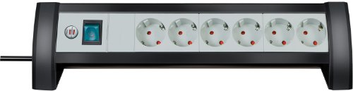Preisvergleich Produktbild Brennenstuhl Premium-Office-Line, Steckdosenleiste 6-fach für den Schreibtisch (mit Schalter und 3m Kabel) Farbe: schwarz / lichtgrau