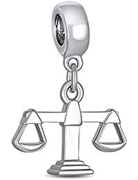 El Juez Abogado Balanzas La Justicia Libra Signo Zodiaco Colgante Abalorio Encanto 925 Plata Para Pulsera Europea Mujer