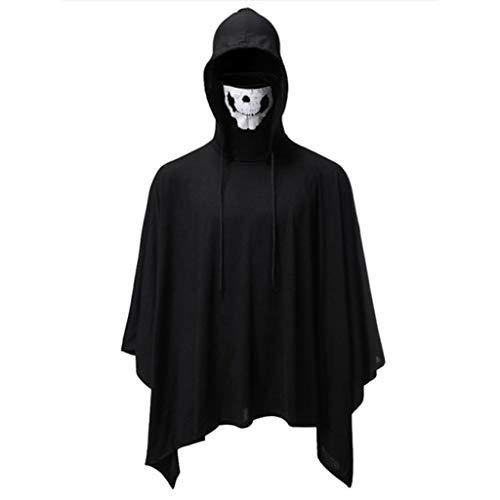 Kostüm Der Hunde Keks - INLLADDY Umhang Herren Hoodie mit Skelettmaske Tops Halloween Cosplay Kostüm Cape Schwarz XXL