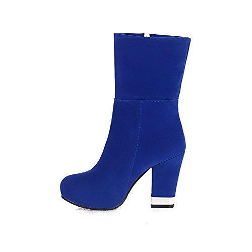 AllhqFashion Damen Niedrig-Spitze Reißverschluss Hoher Absatz Rund Zehe Stiefel Blau