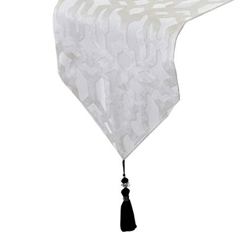 Limeinimukete Weißer und roter Tischläufer aus Polyester für Familienessen oder Familienfeiern, Partys im Innen- oder Außenbereich und für den täglichen Gebrauch (33 x 210 cm), 1 PC (Color : White) (Und-weiß-tabelle Mittelstücke Schwarz-rot)