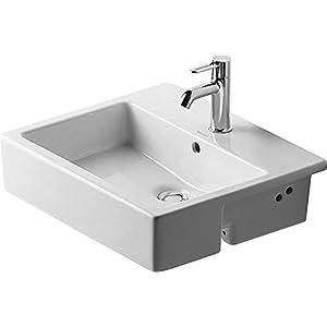 La mitad de lavabo Duravit con sistema de montaje empotrado Vero 550 mm, sin necesidad de Aliviadero, de colour blanco…
