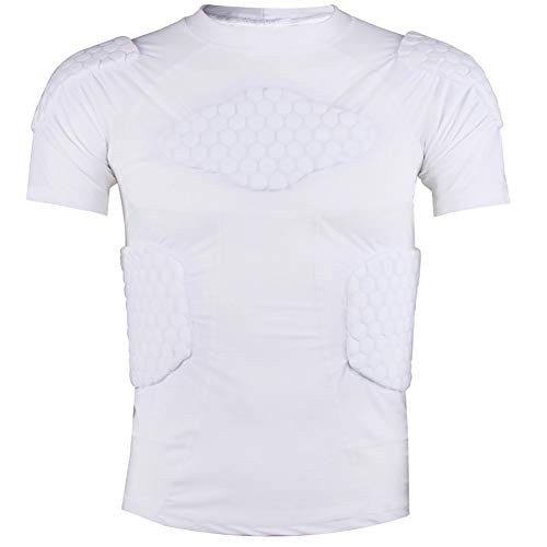 WHSPORT Rugby Anti-Kollisions Strumpfhose Kurzarm Bewegung Basketball Ausbildung (Color : White, Size : L)