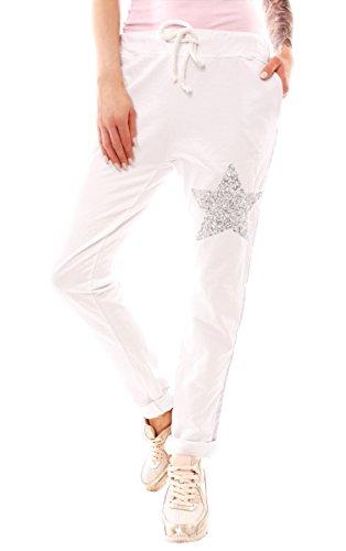 Easy Young Fashion Damen Vintage Jersey Hose Sweathose im Jogger Style m. großem Pailletten-Stern Weiß