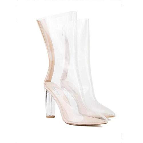 YWNC Crystal Transparent Heel Echtes Leder Rough High Heel Damen Sandalen Wasserdicht Rutschfeste Verschleißfeste Größe 33 40-48 2018 Sommer , white , 43 Crystal High Heel