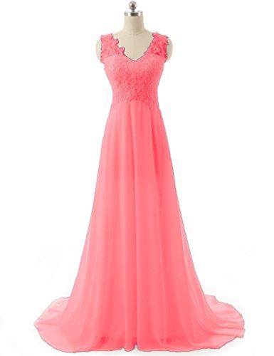 JAEDEN Damen Chiffon V-Ausschnitt Ballkleider Lang Spitze Abendkleid  Festkleid Koralle