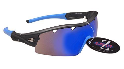 RayZor Professional Leichte UV400White Sports Wrap Cricket Sonnenbrille, mit A 1Stück Belüftet, Blau Iridium Blendfreie Linse, Gunmetal Grey