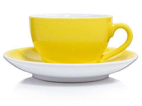 Sänger Cappuccinotassen Set 'Colours' in Gelb aus Porzellan 12 teilig | Füllmenge 280 ml | Die...