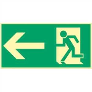 Rettungsweg links HIGHLIGHT Folie 14,8 x 29,7cm Leuchtdichte: HIGHLIGHT 48 mcd/m² gemäß ASR A 1.3/BGV A8/DIN 4844-2
