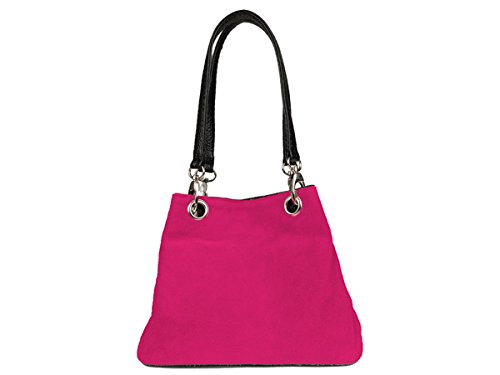 Scarlet Bijoux- Damen Henkeltasche Schultertasche Ledertasche 26 x 19 x 12 cm (B x H x T) Pink