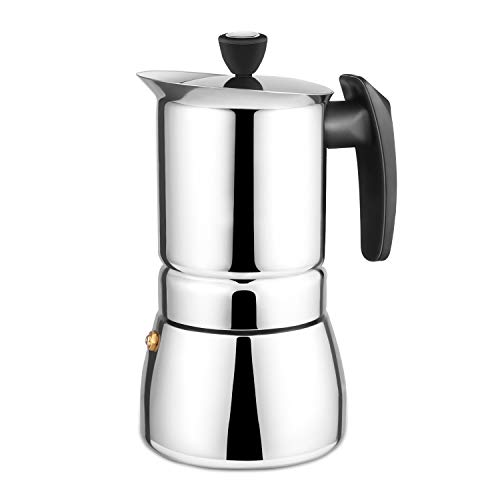 Youlanda Herd Espressokocher - Moka Pot 6 Tassen Demitasse Espresso Shot - Edelstahl -