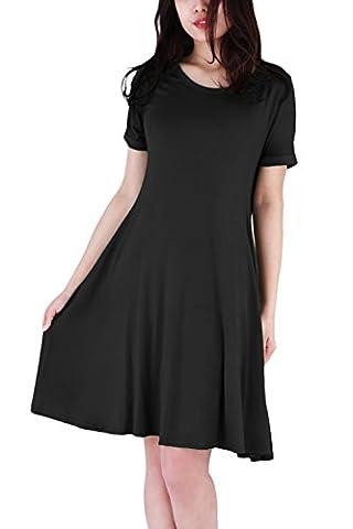WIWIQS Women's Swing Loose Short Sleeve Tshirt Fit Comfy Casual Flowy Tunic Midi Dress,Black L