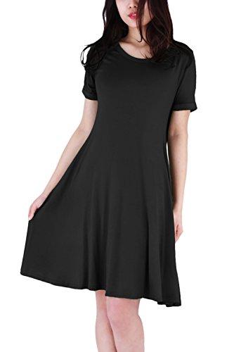 WIWIQS Frauen Swing Loose Kurzarm T-Shirt Fit Comfy Casual Flowy Tunika Midi Kleid, Schwarz (Der Frauen Kostüme 1940er Jahre)
