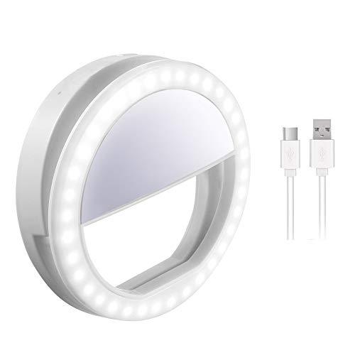 Ourslife Selfie Lumière,Selfie Ring Light Selfie Anneau Lumière avec lumière LED pour caméra, Alimenté par USB 3 Niveaux de luminosité réglable Lumière vidéo, Lumière de Nuit pour Smartphone